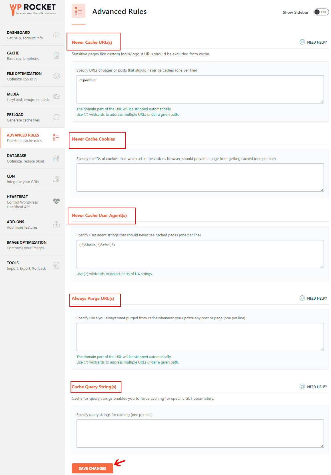 WP Rocket advance rules settings