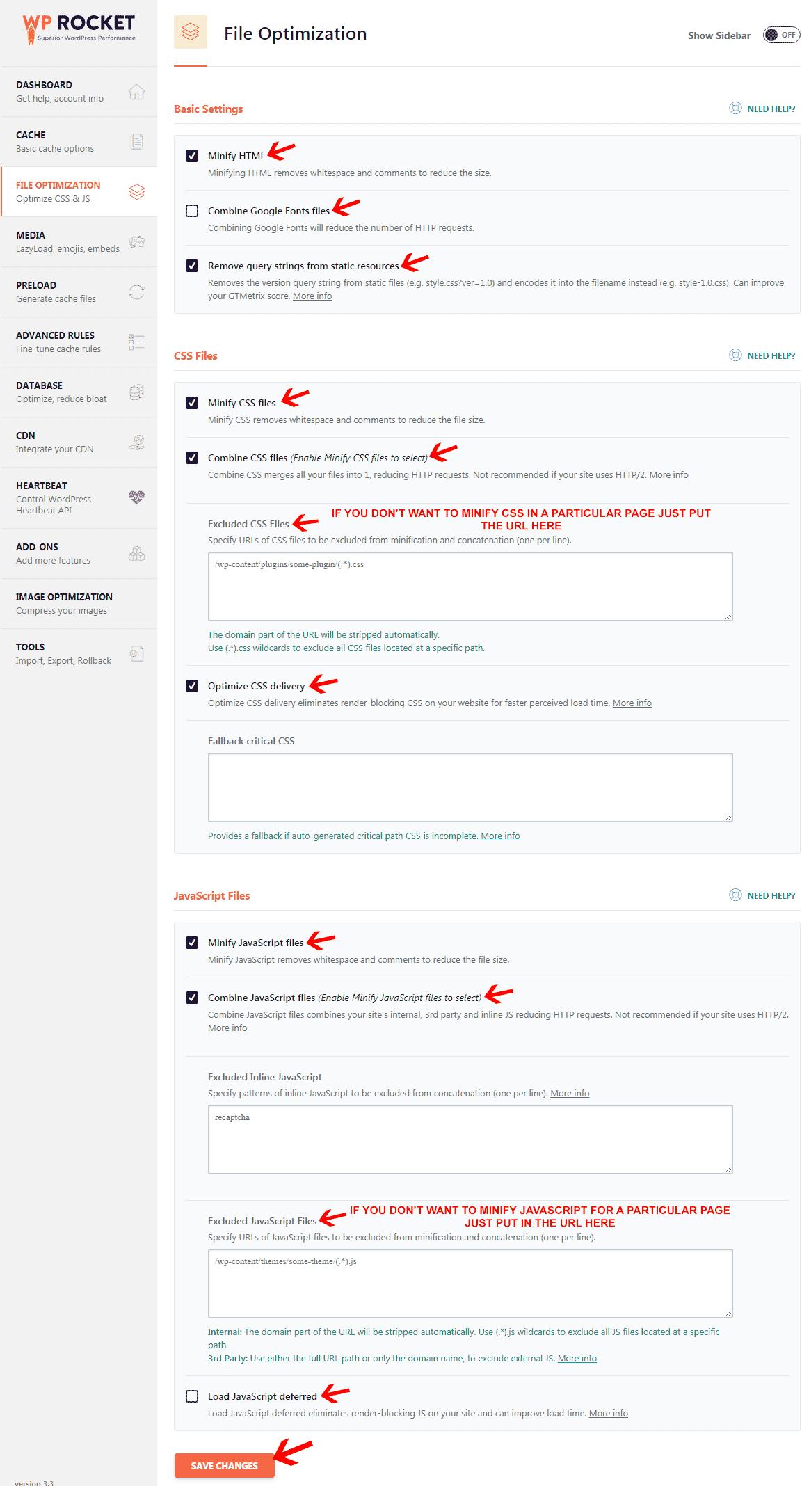 WP Rocket file optimization settings